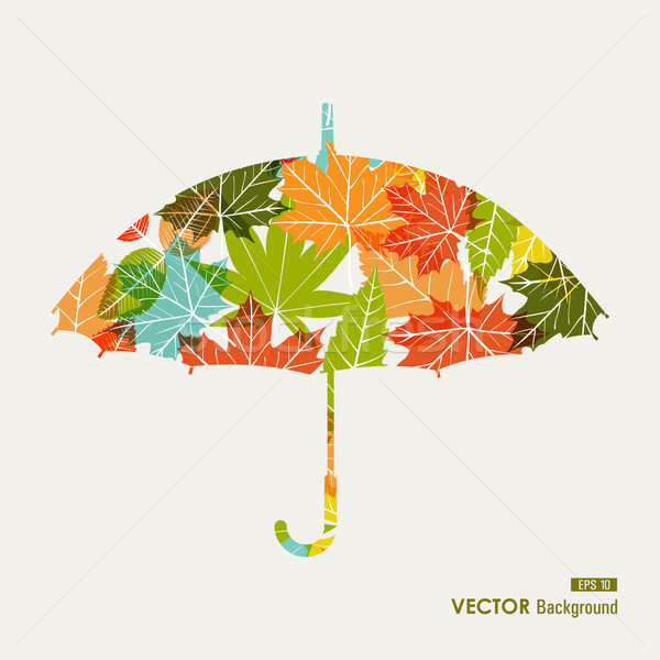 Colorful fall season umbrella leaves shape EPS10 file background Stock photo © cienpies