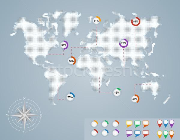 Stockfoto: Wereldkaart · cirkel · percentage · infographics · eps10 · bestand