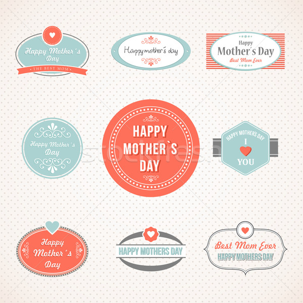 Retro cute Happy Mothers day label set Stock photo © cienpies
