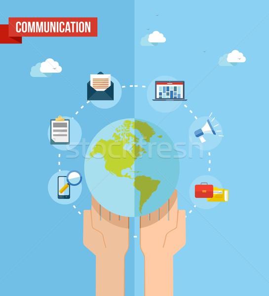 ソーシャルメディア 世界 実例 ウェブ セット アイコン ストックフォト © cienpies