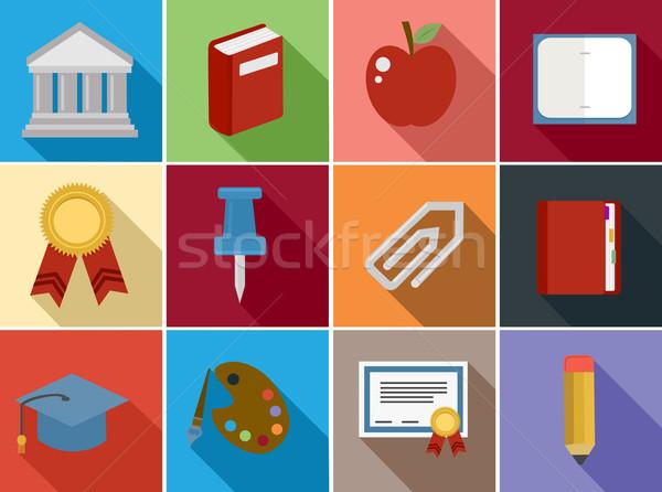 Education flat icons set design Stock photo © cienpies