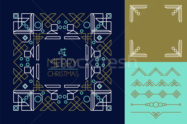 Merry christmas mono line set ornament frame deco Stock photo © cienpies