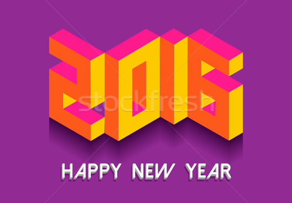 New Year 2016 isometric vintage retro 3d font card Stock photo © cienpies