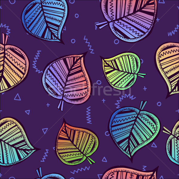 Leaf seamless pattern with colorful summer style Stock photo © cienpies