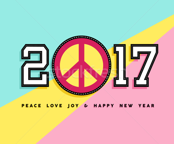 Happy New Year 2017 peace patch icon card design Stock photo © cienpies