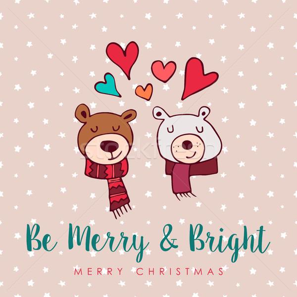 Рождества Cute праздник любви Медведи Cartoon Сток-фото © cienpies