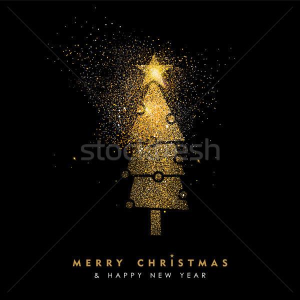 Christmas and new year glitter pine tree card art Stock photo © cienpies