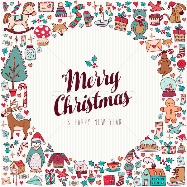 Karácsony új év kézzel rajzolt aranyos ünnep művészet Stock fotó © cienpies