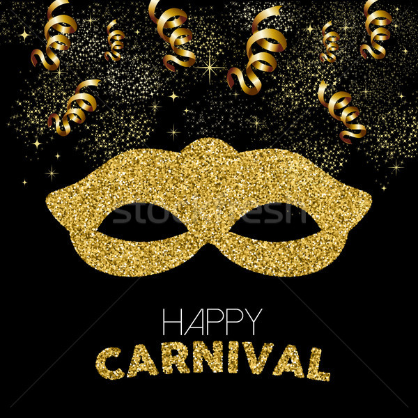 Gold glitter happy carnival mask decoration design Stock photo © cienpies