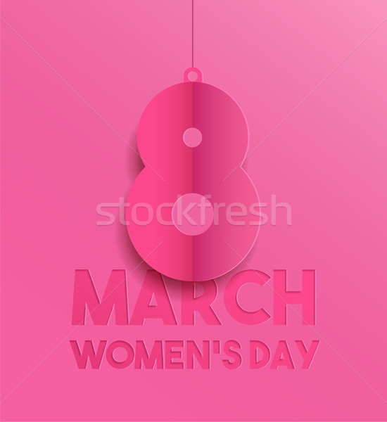 Happy Women day pink paper cut greeting card Stock photo © cienpies