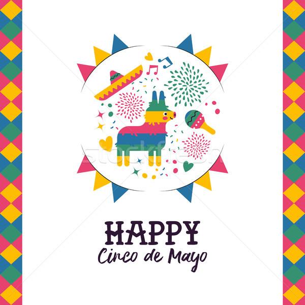 Cinco de mayo hand drawn pinata greeting card Stock photo © cienpies