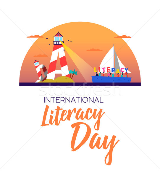 Literacy day banner concept for kids education Stock photo © cienpies