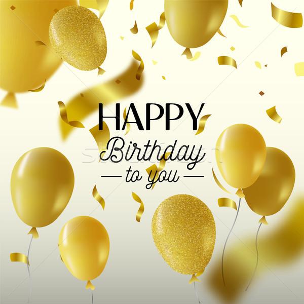 Happy birthday gold party balloon greeting card Stock photo © cienpies