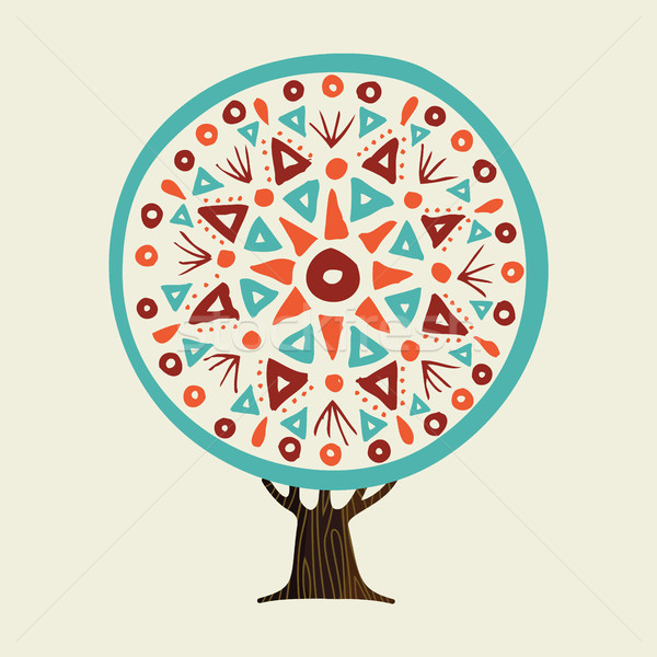 Tree with boho style hand drawn mandala Stock photo © cienpies