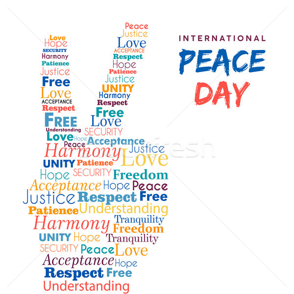 Wereld vrede dag ontwerp handteken vrijheid Stockfoto © cienpies
