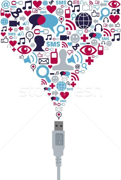 Social media usb komunikacji splash Zdjęcia stock © cienpies