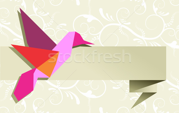 Single Origami hummingbird over floral background Stock photo © cienpies