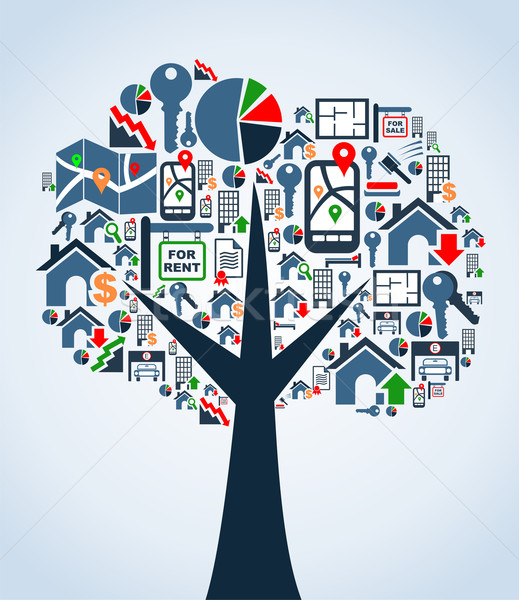 Property service icons tree Stock photo © cienpies