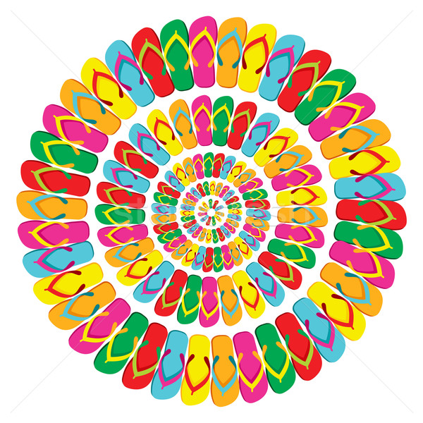 Summer multicolor flip flops mandala Stock photo © cienpies