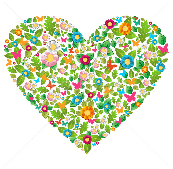 Zielone kwiatowy wiosną lata miłości liści Zdjęcia stock © cienpies