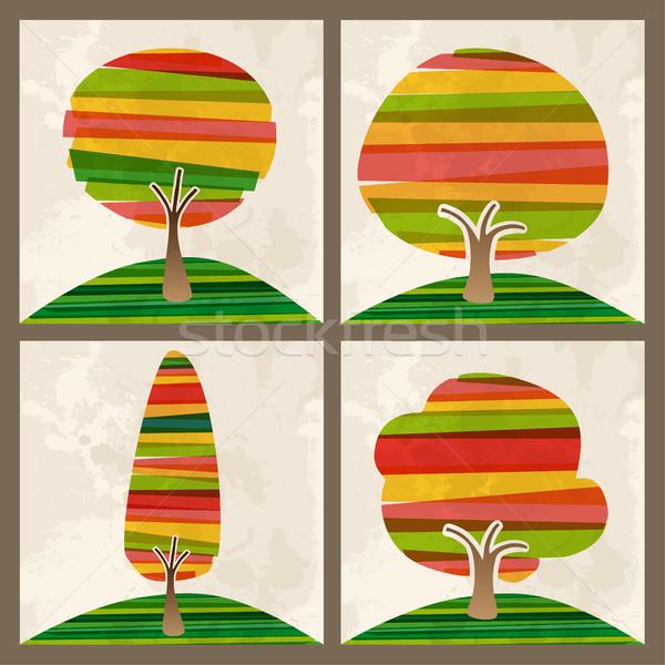 Multicolor tree set Stock photo © cienpies