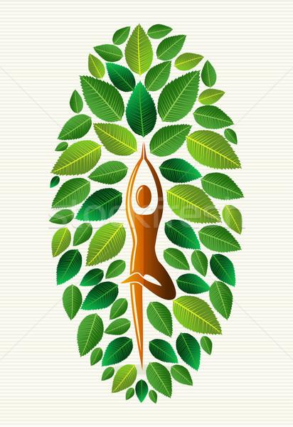 Indië yoga blad boom oefening menselijke Stockfoto © cienpies