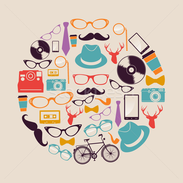 Vintage hipsters icons circle. Stock photo © cienpies