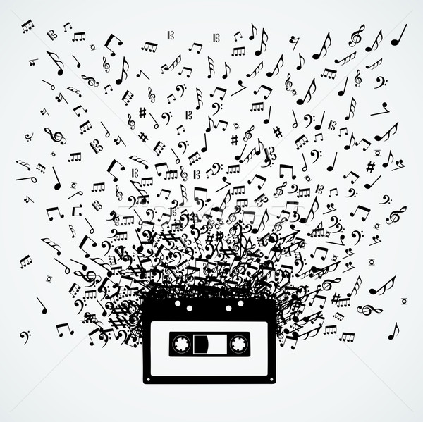 Music notes out of a cassette isolated design Stock photo © cienpies