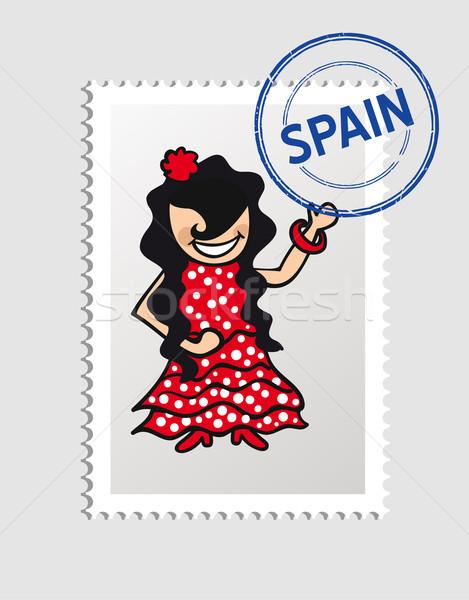 Hiszpania cartoon osoby podróży pieczęć hiszpanski Zdjęcia stock © cienpies