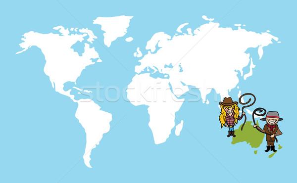 австралийский люди разнообразия Мир карта пару Cartoon Сток-фото © cienpies