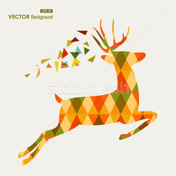 красочный Осенний сезон северный олень треугольник eps10 файла Сток-фото © cienpies