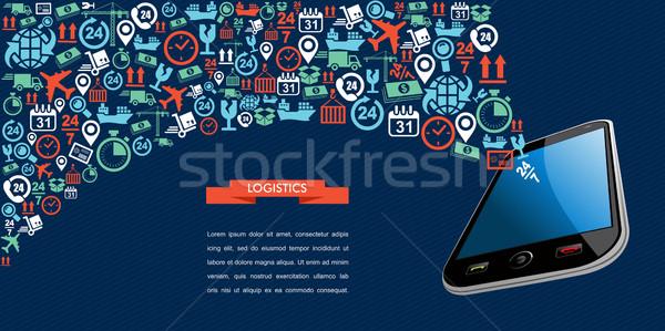 Nakliye lojistik uygulaması metin şerit hareketli Stok fotoğraf © cienpies
