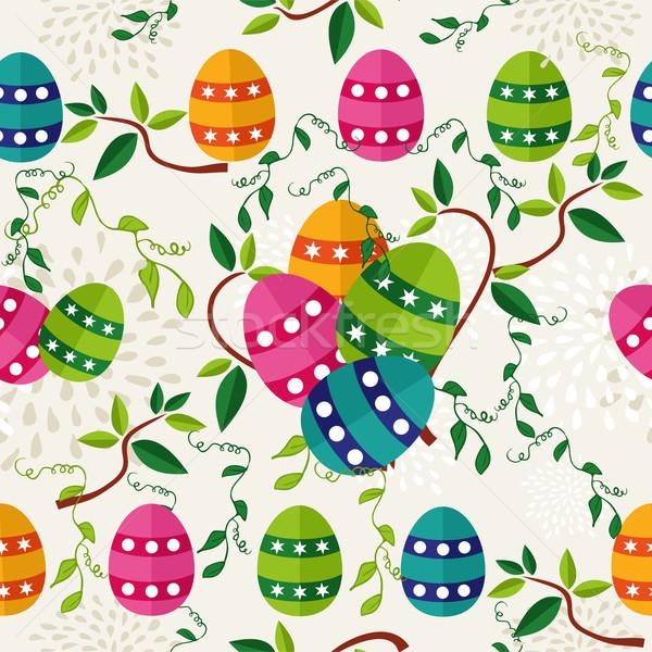 ストックフォト: カラフル · イースター · パターン · 卵 · かわいい