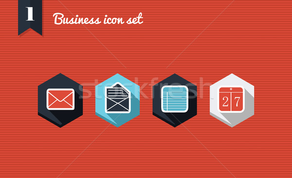 Business marketing flat icons set Stock photo © cienpies