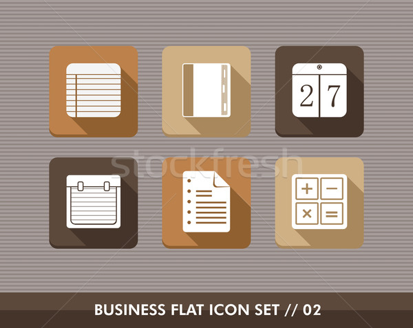 Business flat icons set Stock photo © cienpies