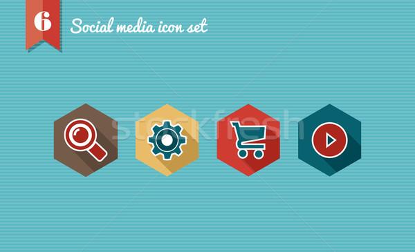 ソーシャルメディア コレクション セット デザイン アイコン ストックフォト © cienpies