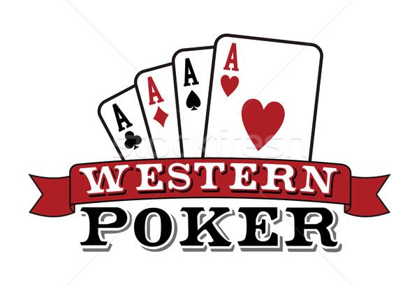 Four aces on white. Poker icon Stock photo © cienpies