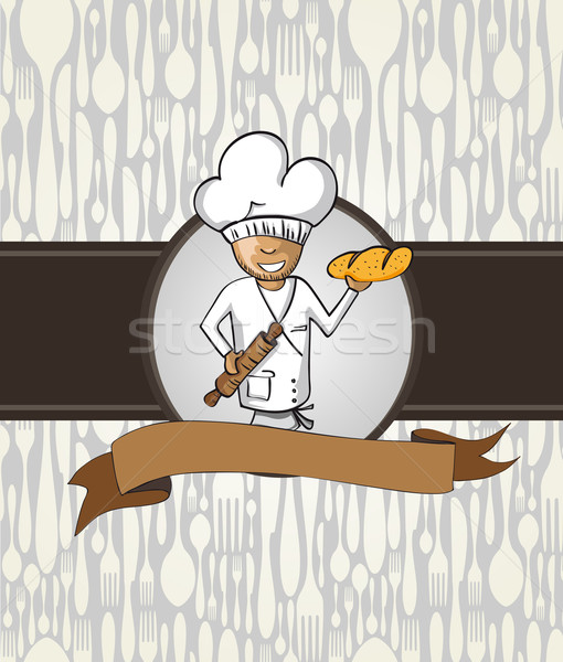 Baker chef cartoon menu badge Stock photo © cienpies
