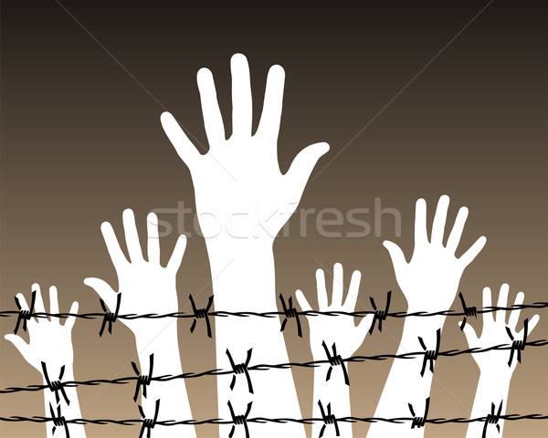 hands behind a barbed wire prison Stock photo © cienpies