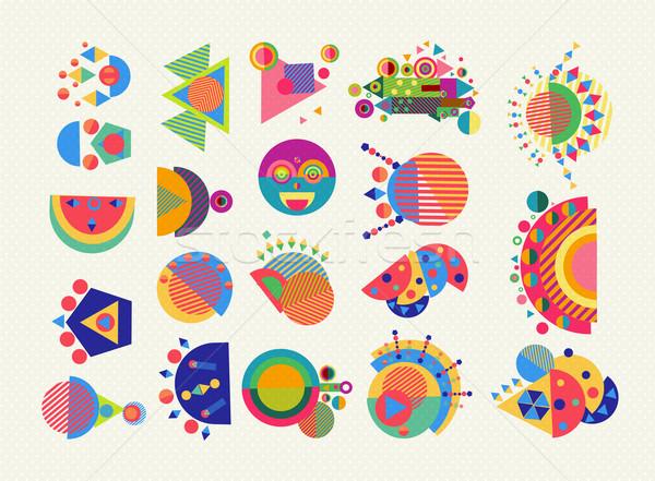 Conjunto geometria elemento símbolo abstrato colorido Foto stock © cienpies