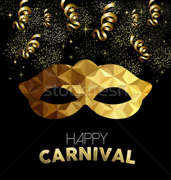 Carnival design with gold mask and party elements Stock photo © cienpies