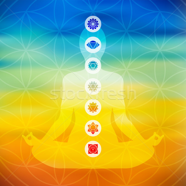 Yoga pose with chakra icons  Stock photo © cienpies