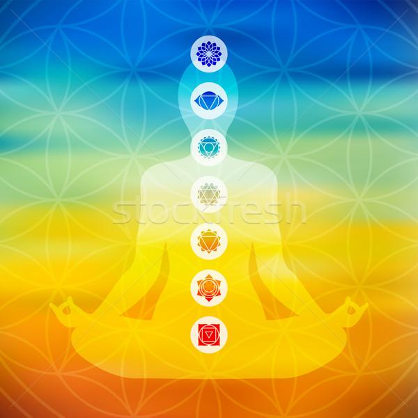 Jóga póz csakra ikonok test sziluett jóga Stock fotó © cienpies