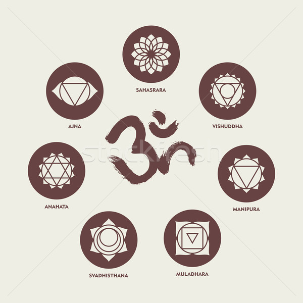 Chakra icon set elements and om calligraphy Stock photo © cienpies