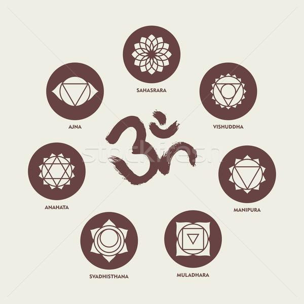Chakra communie schoonschrift ingesteld eenvoudige Stockfoto © cienpies