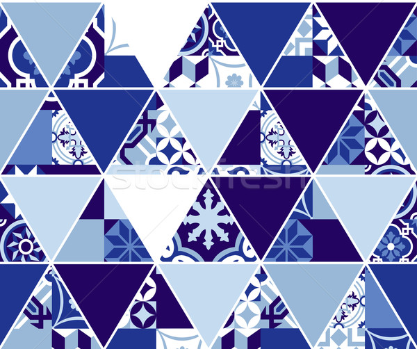 Triangle blue pattern with classic mosaic tile art Stock photo © cienpies