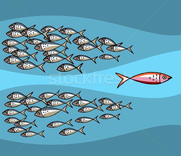 Unico pesce nuoto marea diverso blu Foto d'archivio © cienpies