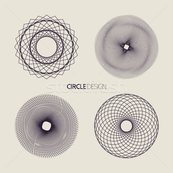 Line art circle set with sacred geometry design Stock photo © cienpies