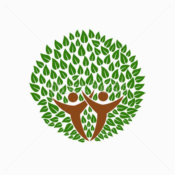 Green tree people symbol for community team help Stock photo © cienpies