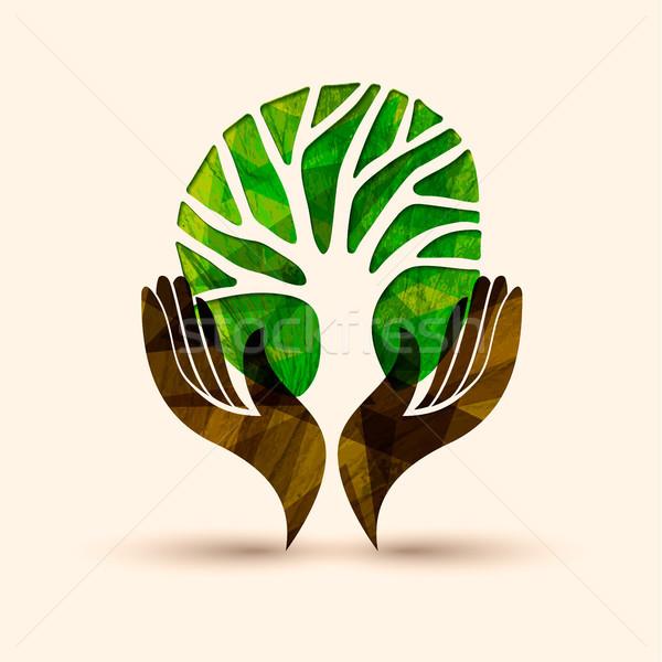 Hand tree green nature people help illustration Stock photo © cienpies